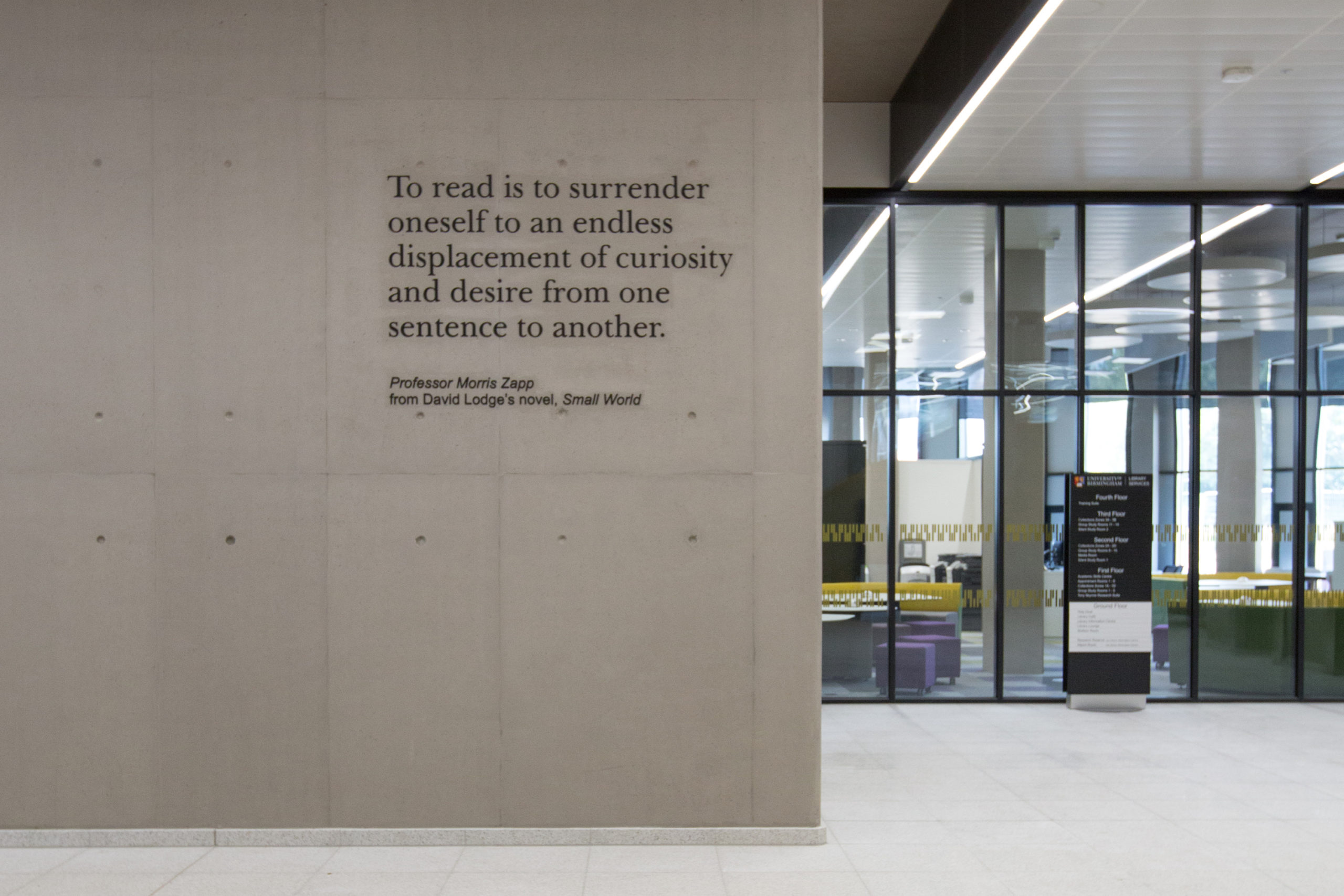 Bespoke lettering, wayfinding directory and manifestation