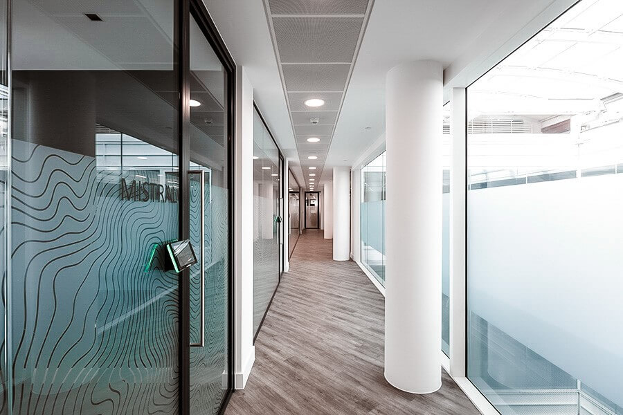 Office Hallway with window manifestations and bespoke privacy film